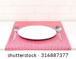 empty plate and spoon fork on... | Shutterstock . vector #316887377