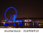 Blue Light London Eye In The...