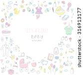 set of baby shower design... | Shutterstock .eps vector #316913177
