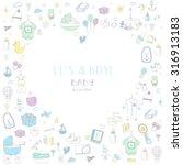 set of baby shower design... | Shutterstock .eps vector #316913183