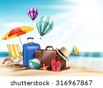 3d realistic summer travel and... | Shutterstock .eps vector #316967867