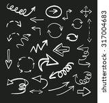 doodle arrows vector set | Shutterstock .eps vector #317004683