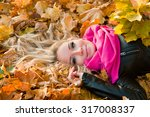 Young Woman In Autumn Orange...