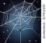 halloween spider web. night sky. | Shutterstock .eps vector #317012333