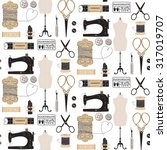 vintage vector tailor's tools... | Shutterstock .eps vector #317019707