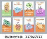 halloween cards. made with ink. ... | Shutterstock .eps vector #317020913