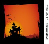 halloween background with house ... | Shutterstock .eps vector #317044013