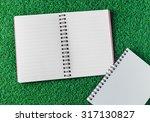 note book on grass background | Shutterstock . vector #317130827