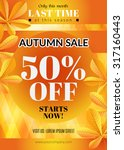autumn sale flyer. vector... | Shutterstock .eps vector #317160443