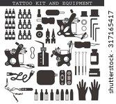 tattoo kit and equipment.... | Shutterstock .eps vector #317165417
