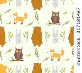cute seamless pattern with... | Shutterstock . vector #317181467
