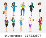 set of 10 women in different