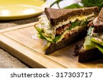 sandwich with fried bacon ... | Shutterstock . vector #317303717