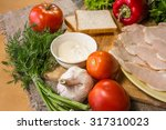 steak sandwich with fresh... | Shutterstock . vector #317310023