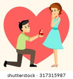 man makes marriage proposal to... | Shutterstock .eps vector #317315987