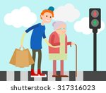 boy helps old lady crossing... | Shutterstock .eps vector #317316023