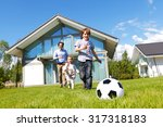 family playing football in... | Shutterstock . vector #317318183