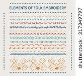Set Of Vector Elements Of Folk...
