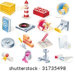 raster objects icons set. part... | Shutterstock . vector #31735498