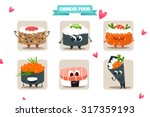 funny vector sushi characters.... | Shutterstock .eps vector #317359193