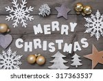 white letters with word merry... | Shutterstock . vector #317363537
