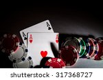 poker cards and chips on...   Shutterstock . vector #317368727