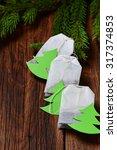 tea bag with christmas tree... | Shutterstock . vector #317374853