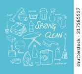 vector doodle set of cleaning... | Shutterstock .eps vector #317385527