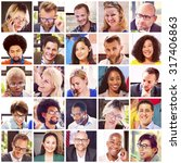 collage diverse faces group... | Shutterstock . vector #317406863