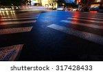 Night View Of Crosswalk And...