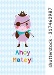 Cute Hippo Ahoy Pirate Poster