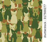 Military Texture Of Cats. Army...