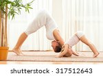 mother and daughter doing yoga  ... | Shutterstock . vector #317512643