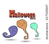 halloween party with ghosts | Shutterstock .eps vector #317520047