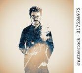 double exposure of photographer ... | Shutterstock . vector #317536973