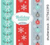 Set Of Holiday Ribbons. Vector...