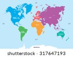 continents of the world  map | Shutterstock .eps vector #317647193