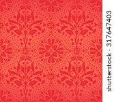 Damask Red Flowers Seamless...