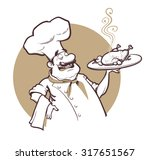happy cheaf with fried chicken. ...   Shutterstock .eps vector #317651567