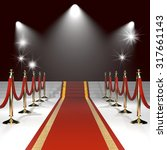 red carpet with red ropes on... | Shutterstock . vector #317661143