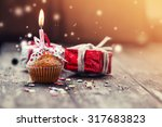 cupcake with present gifts  ... | Shutterstock . vector #317683823