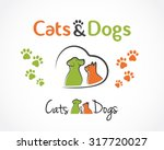 Stock vector abstract design concept for pet shop or veterinary dog and cat symbol vector logo template 317720027