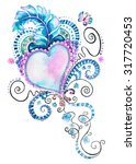 heart and feather illustration | Shutterstock . vector #317720453