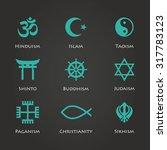 world religion symbols cyan... | Shutterstock .eps vector #317783123