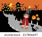 children travel back home on... | Shutterstock . vector #317806697