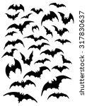 bats silhouettes set.... | Shutterstock . vector #317830637