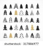 Hand Drawn Christmas Tree Icon...