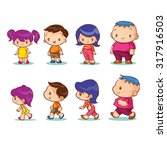 boys  girls  front and side... | Shutterstock .eps vector #317916503