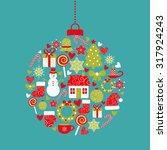 christmas design elements in... | Shutterstock .eps vector #317924243