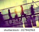 people walking commuter hallway ... | Shutterstock . vector #317942963